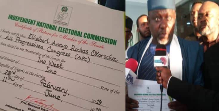 Breaking: Okorocha receives his Certificate of Return from INEC