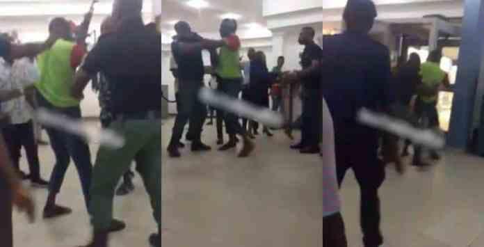 First bank security men assault client inside banking hall (video)