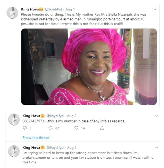 Heartbroken Nigerian man shares news of kidnapped mum's death