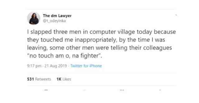 Lawyer reveals why she slapped three men at Computer Village in Lagos