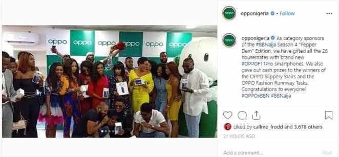 BBNaija: Ex-housemates receive smartphones from OPPO Nigeria (Photos)
