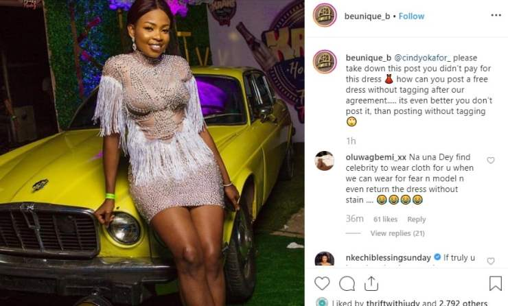 Ex-BBNaija housemate Cindy Okafor called out for posing in free dress without giving credit