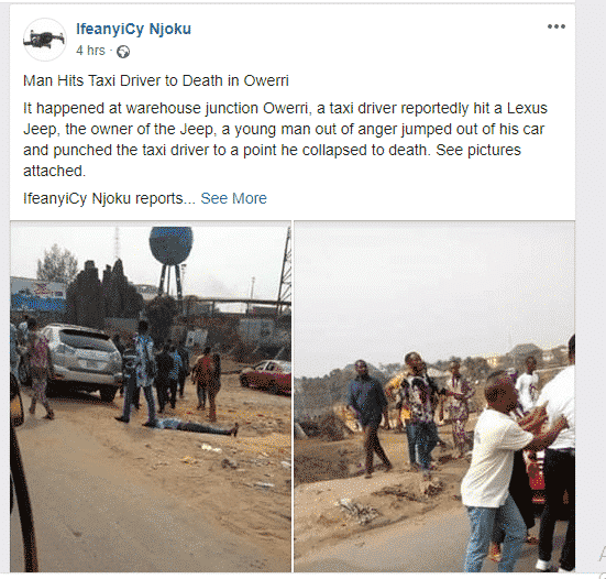 Man punches Owerri taxi driver to death (See Photos)