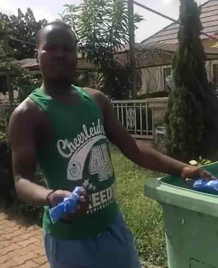 Lady confronts man collecting used sanitary pads from dustbin (Video)