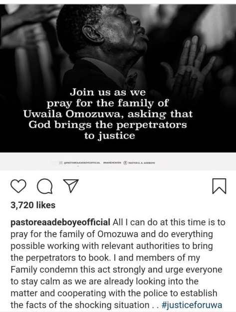 Pastor Adeboye breaks silence on the rape and murder of UNIBEN student in RCCG church
