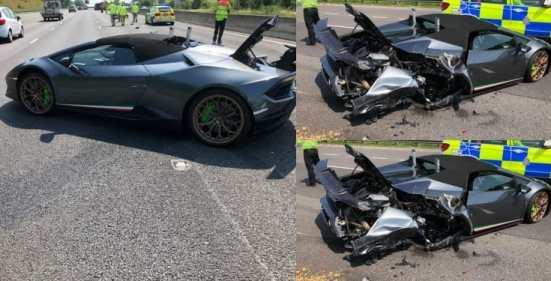 Driver crashes new £200,000 Lamborghini Huracan Spyder