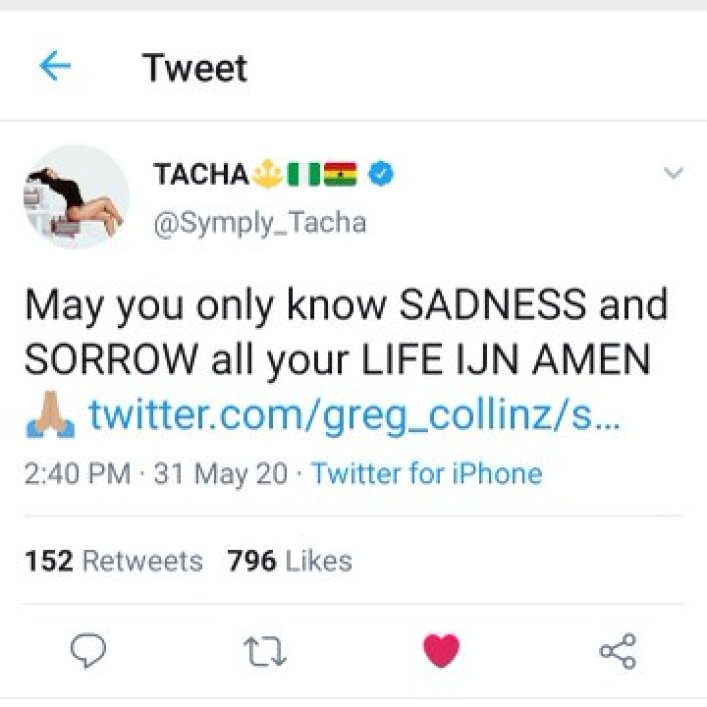 "Tacha curses a troll - ""May you only know sadness and sorrow all your Life"""