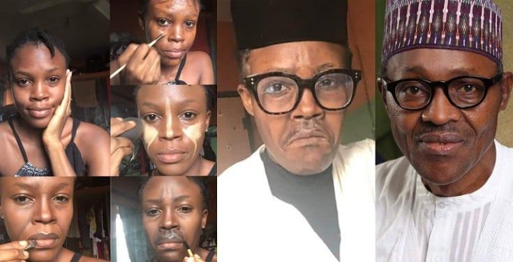 #Trending: Reactions as talented makeup artist paints her face to look like Buhari (Photos)