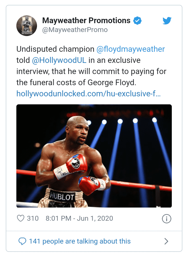 Mayweather to foot George Floyd's funeral