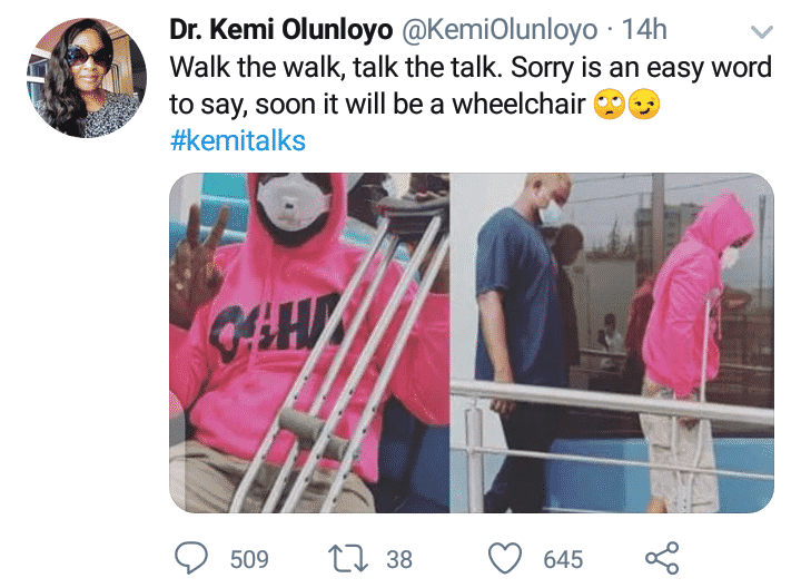 Kemi Olunloyo prays Davido never heals