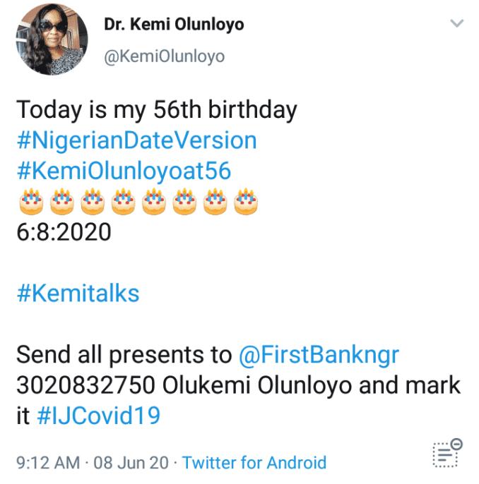 Kemi Olunloyo celebrate birthday