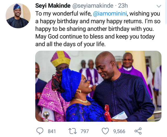 Seyi lavishes his wife with encomiums