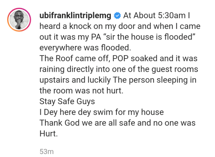 Ubi Franklin's Home Wrecked By Flood