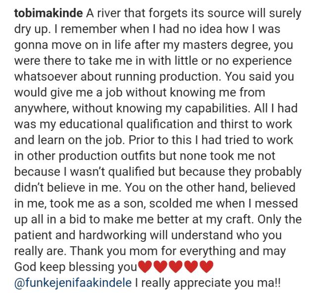 Timini Showers Praises On Funke Akindele