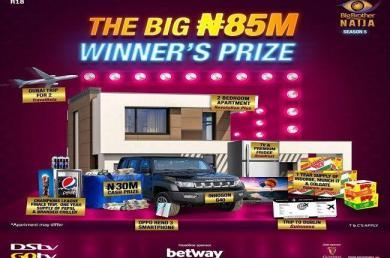 BBNaija Season 5 : MultiChoice Nigeria reveals N85m grand prize for winner