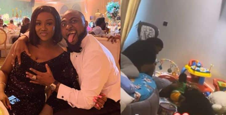 Celebrity Gist: Davido and Chioma chilling with their son Ifeanyi