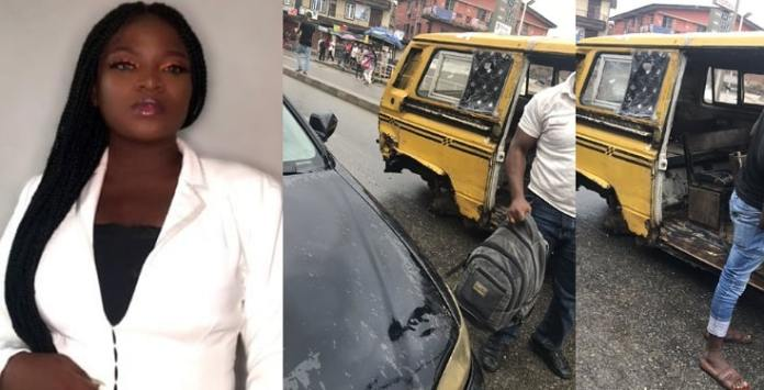 Nigerian lady unharmed after jumping out of a moving bus (Photos)