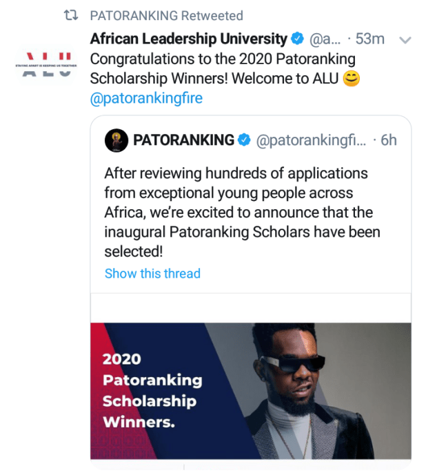screenshot 20200716 1722381439854336868925462 - Patoranking awards absolutely paid college scholarship to 10 individuals throughout Africa