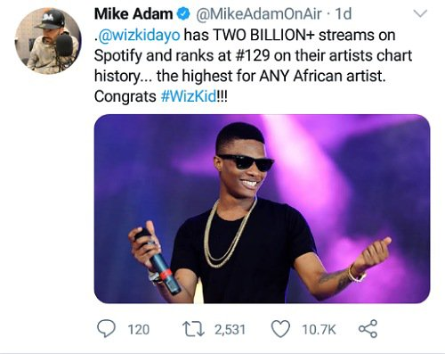 Wizkid 2 Billion Streams On Spotify