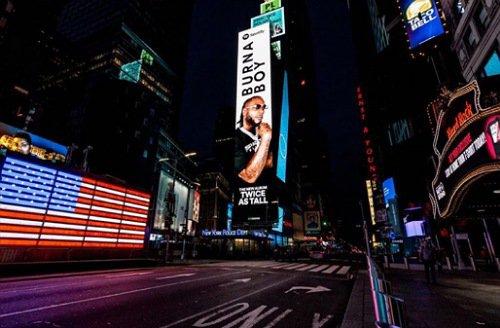 Burna Boy takes over American billboards