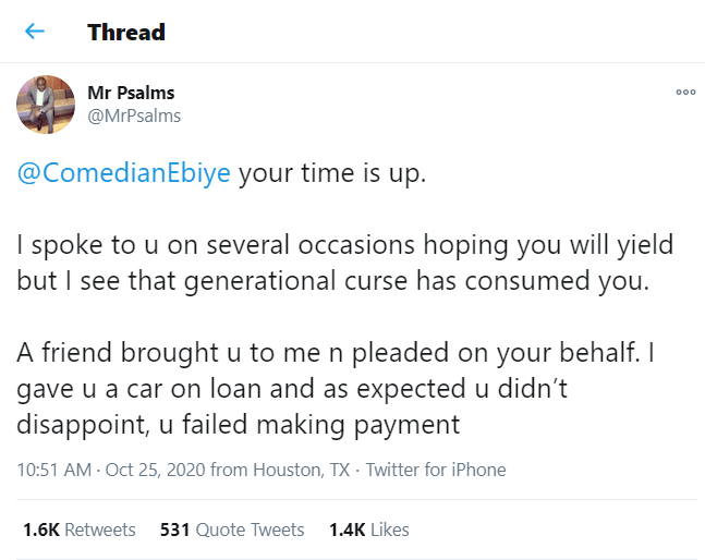 Man calls out Ebiye for selling the Benz he bought from him on credit and losing the money to forex trading
