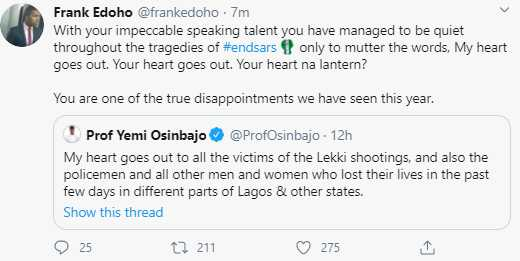 """You are one of the disappointments we have seen this year"" – Frank Edoho Blasts Osinbajo"