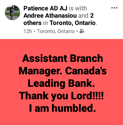 Nigerian becomes Manager of a bank in Canada