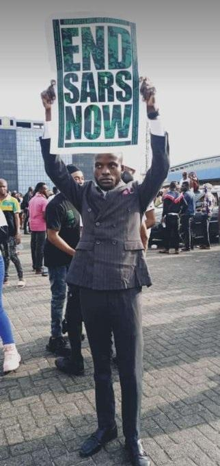 Man Joins #EndSARs Protest After His Court Wedding