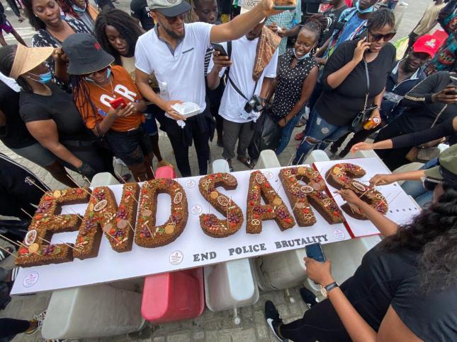 Protesters Bake #EndSARS Cake