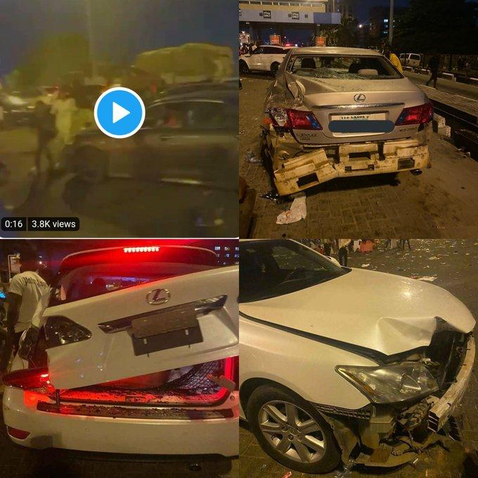 Cars destroyed at lekki Toll gate