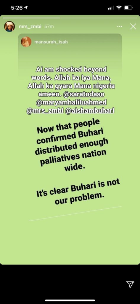Zahra Buhari shares post stating that Buhari shared Covid-19 palliatives and is not Nigeria's problem