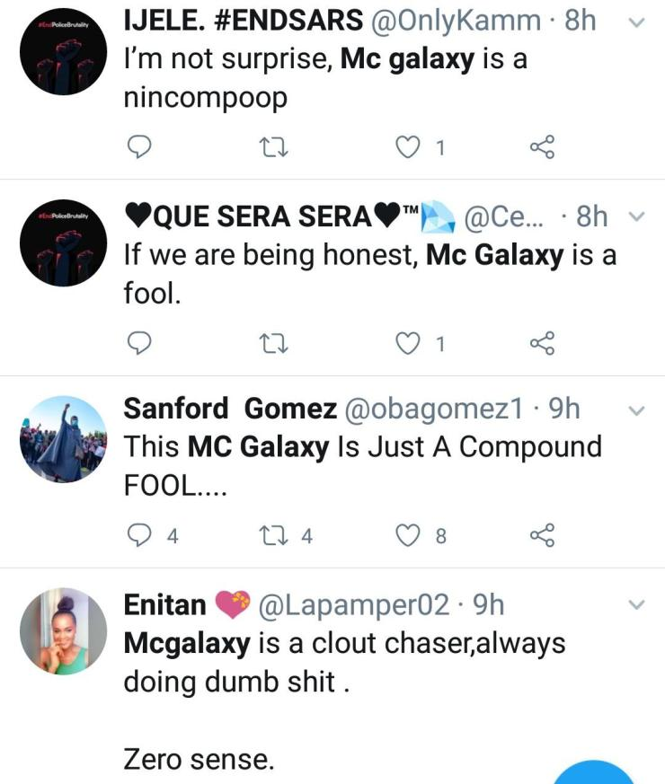 MC Galaxy dragged to filth for throwing N200 notes at #EndSars protesters in Lekki