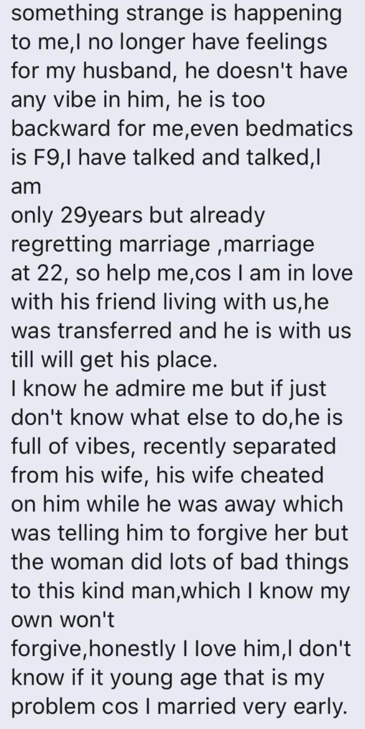 Nigerian lady loses interest in her husband, falls in love with husband's friend who squatted with them