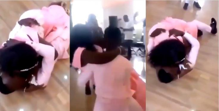 Moment groom crashed to the ground with bride, while trying to carry her on their wedding day (Video)