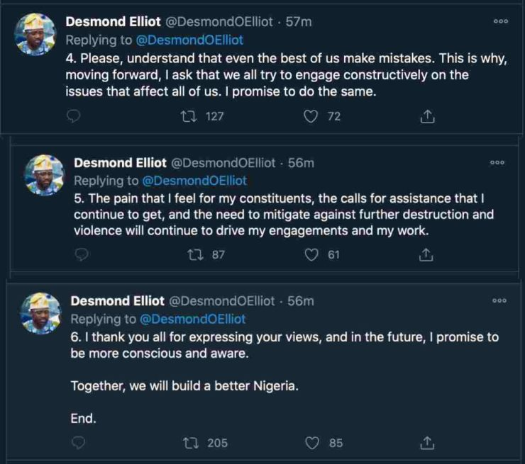 """""""I didn't mean to be insensitive"""" – Desmond Elliot has penned down an apology letter to Nigerians Screenshot 2020 10 29 at 18"""