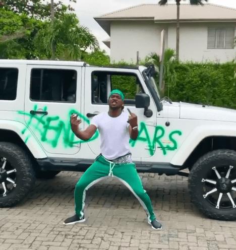 Paul Okoye Sprays His Mercedes Jeep #EndSARS