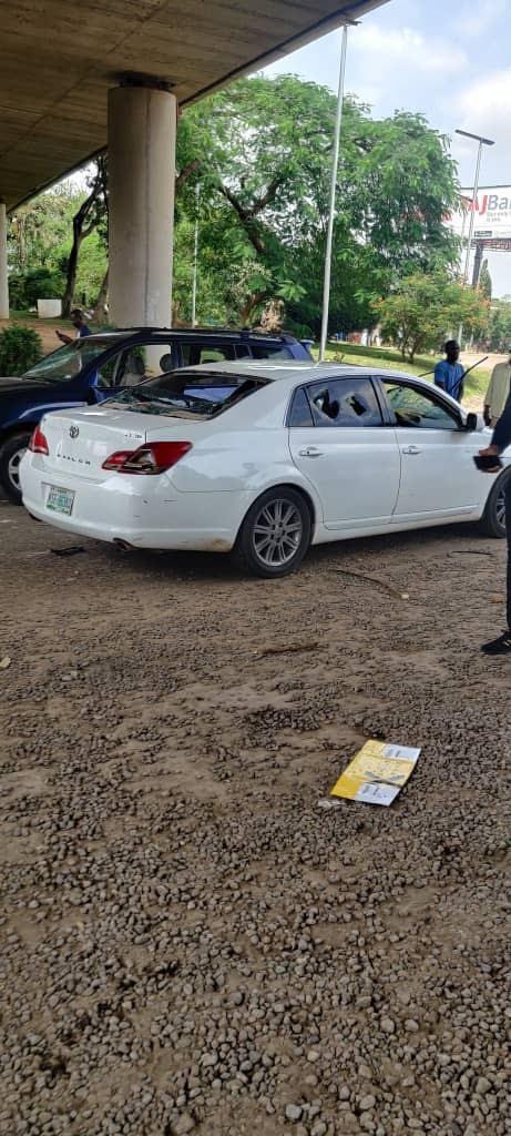 car destroyed #endars abuja