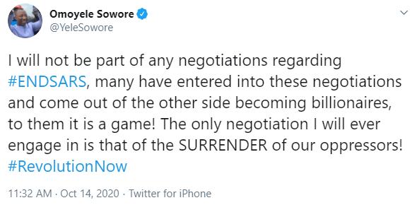 Sowore on #EndSARS negotiations
