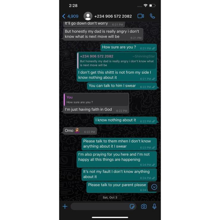 Singer, Lil Frosh insists on not beating up his ex-girlfriend gift camille, shares chat screenshot as proof