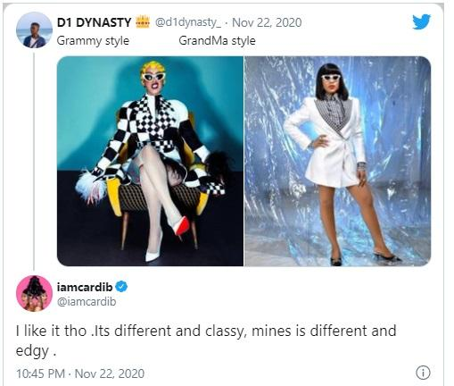 """""""It's different and classy"""" - Cardi B Applauds Erica Fashion Style"""