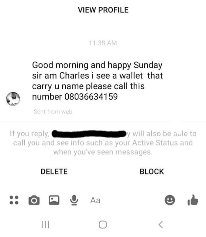 Man returns missing wallet