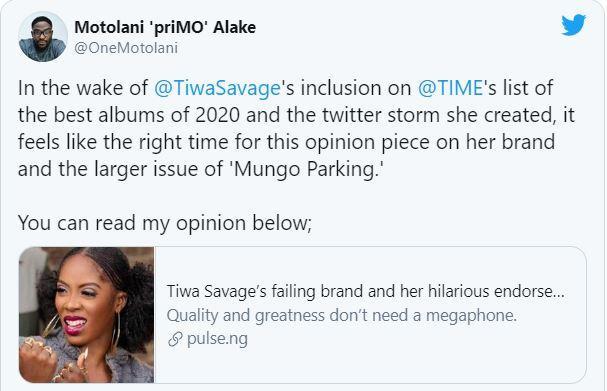 Pulse NG article on tiwa savage falling career