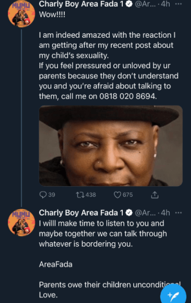 charly boy's tweet emotional support to lgbtq community