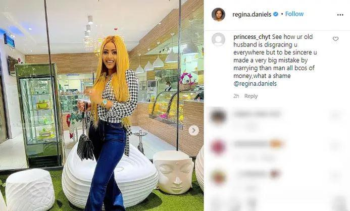 """""""Your old husband is disgracing you everywhere"""" - Fans troll Regina Daniels over Ned's 7th wife"""