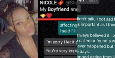 Lady shares chat with boyfriend who made her starve herself for 3 days