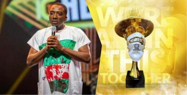 Reactions as Bovi rocks EndSars-themed outfit to Headies Awards event