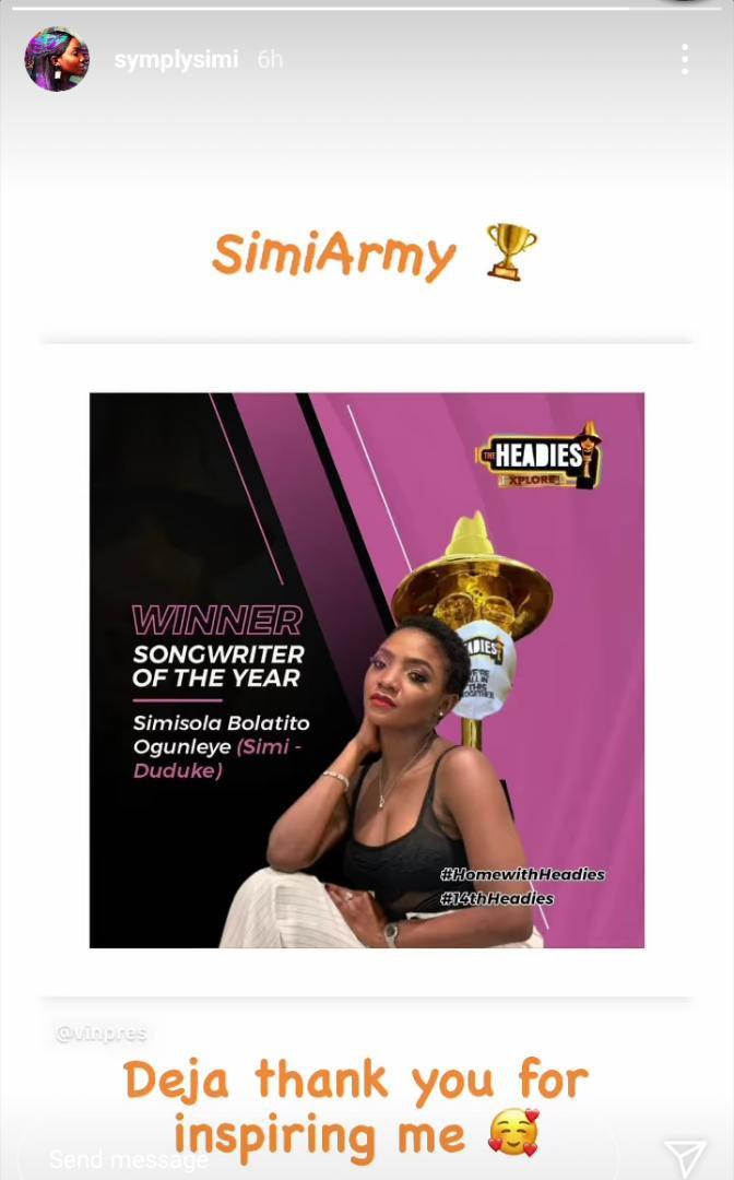 Simi dedicates Headies Award