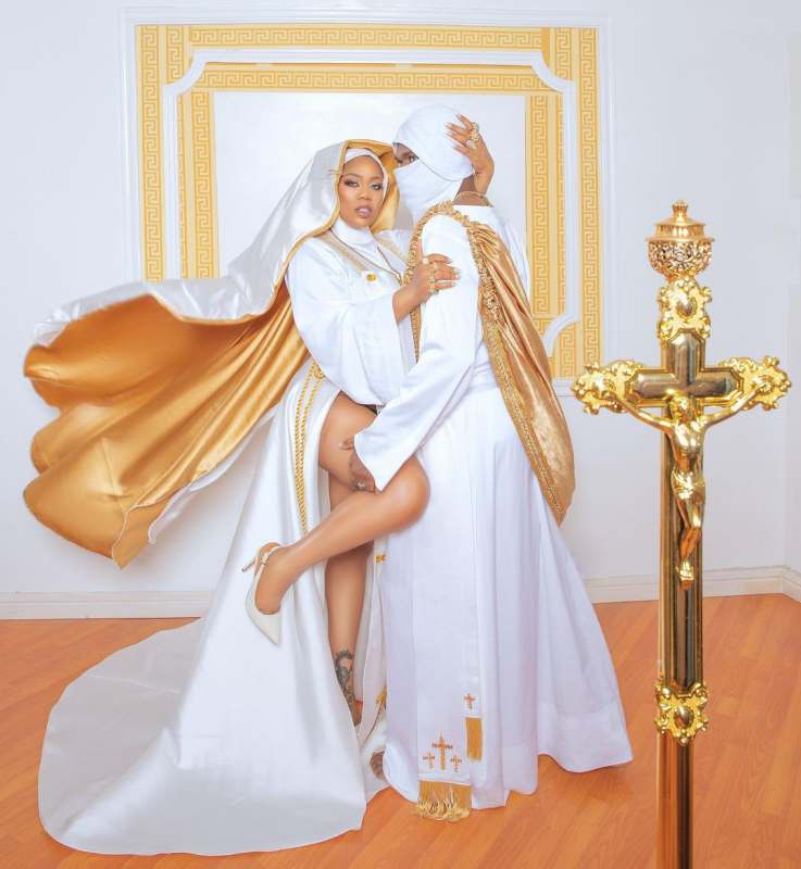 Toyin Lawani nun outfit