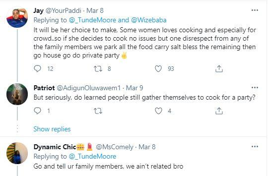 """Reactions as man says """"my wife will not cook at any family gathering"""""""