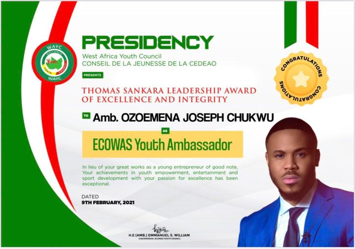 Ozo ECOWAS Youth Ambassador